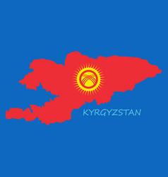 flag map of kyrgystan vector image