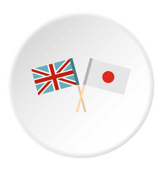 Flag of united kingdom and japan icon circle vector