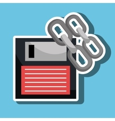 Floppy disk with chain isolated icon design vector