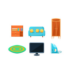 furniture collection home accessories wooden vector image