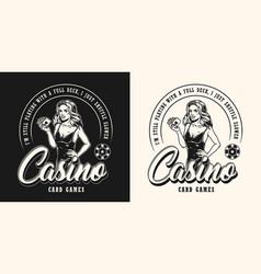 gambling vintage monochrome emblem vector image