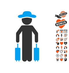 gentleman passenger icon with lovely bonus vector image