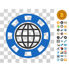 global casino chip icon with bonus vector image