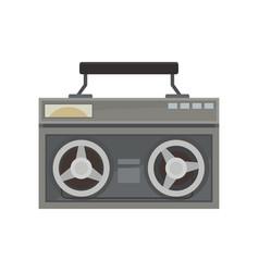 gray vintage radio with handle retro device old vector image