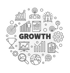 Growth outline round concept vector