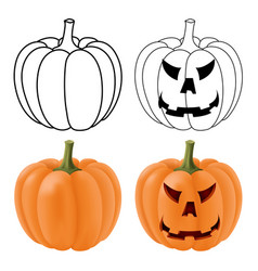 halloween pumpkins orange 3d and vector image