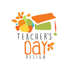Happy teachers day label concept with graduate cap vector