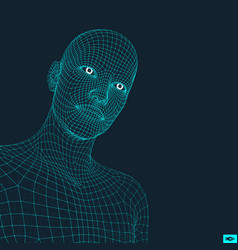 Head of the person from a 3d grid vector