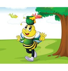 Honey bee carrying honey vector