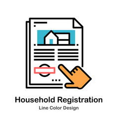 Household registration line color icon vector