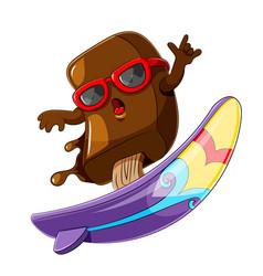 ice cream chocolate cartoon surfing vector image