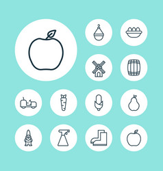 Icons set collection of maize ovum root and vector