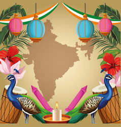 Indian tourism and travel card vector