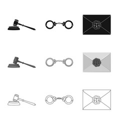 Isolated object of law and lawyer logo set of law vector