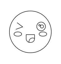 Kawaii happy face icon vector