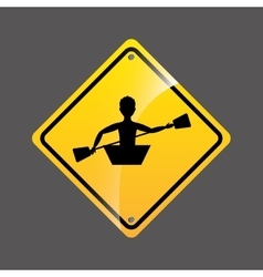 Kayaking person sign sport extreme design vector