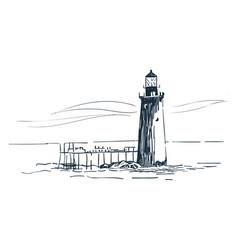 lighthouse sketch landscape line skyline vector image
