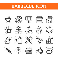 line icon set bbq party barbecue grill picnic vector image