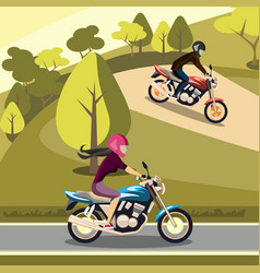 Man and woman riding on their motorbikes vector