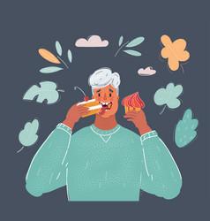 man eating cake on dark vector image