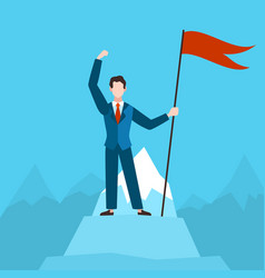man with red flag on peak businessman vector image