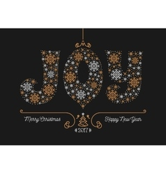 Merry Christmas Happy New Year 2017 greeting card vector