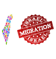 Migration composition of mosaic map of israel and vector