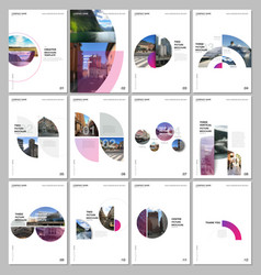 Minimal brochure templates with circles colorful vector
