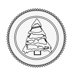 Monochrome contour circle with christmas tree with vector