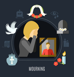 Mourning concept set vector