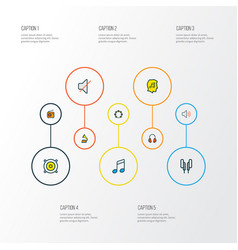multimedia icons colored line set with timbrel vector image