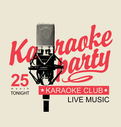 Music banner for karaoke party with microphone vector
