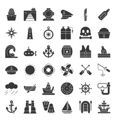 nautical and sailor related icon set solid style vector image