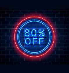 neon 80 off text banner night sign vector image