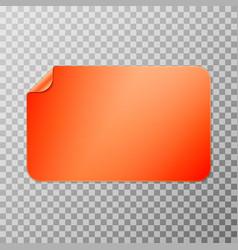 Orange rectangular peel off paper sticker vector