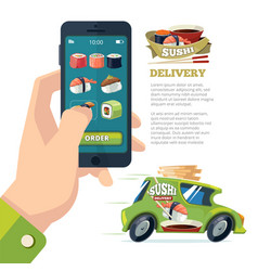 order sushi online man holding smartphone and vector image