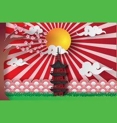 paper art and craft of spring in asian temple vector image