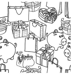 pattern of the theme of shopping and gifts vector image