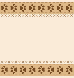 Paws animals footprints frame border vector