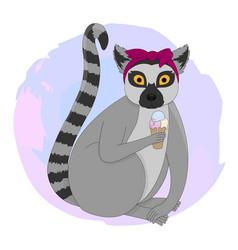 Portrait of lemur vector