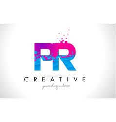 Pr p r letter logo with shattered broken blue vector