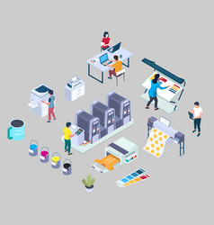 Printing services flat 3d isometric vector