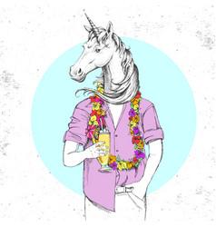 retro hipster fantasy animal unicorn vector image