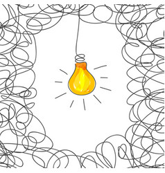 Scribble with light bulb concept vector