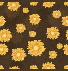 Seamless pattern with golden daisy flowers vector