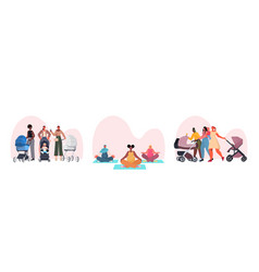 set mix race mothers walking with newborn babies vector image