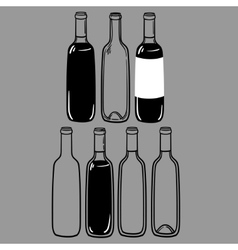 Set of alcohol bottles of wine or a martini vector