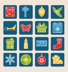 Set of colored christmas icons in thin line style vector