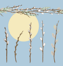 set of different spring branches willow and vector image