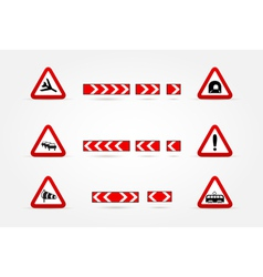 set of Warning traffic signs vector image